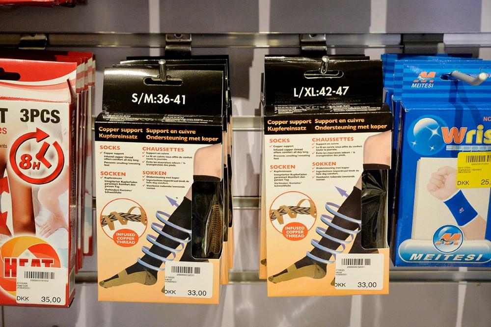 Selv støttestrømper findes der i MEGA. Foto: Jens Nielsen