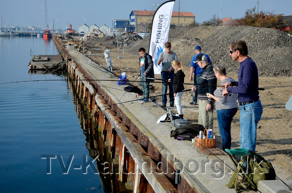 Det gode vejr havde lokket mange ud med fiskestangen. Foto: Jens Nielsen