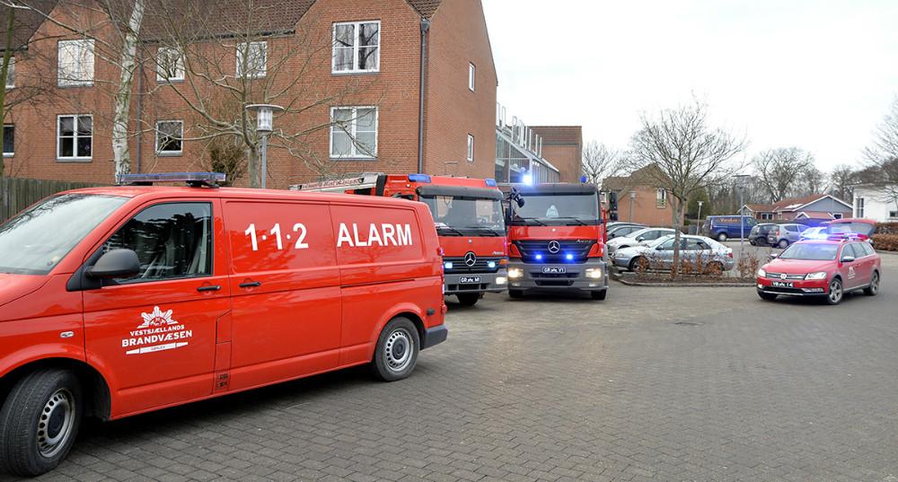 Brand på Bytorvet i Gørlev, tirsdag eftermiddag. Foto: Jens Nielsen