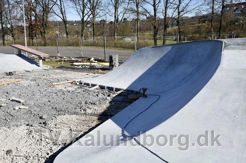 Den nye skaterbane i Munkesøen er snart færdig og skal, efter planerne, indvies d. 4. maj. Foto Jens NIelsen