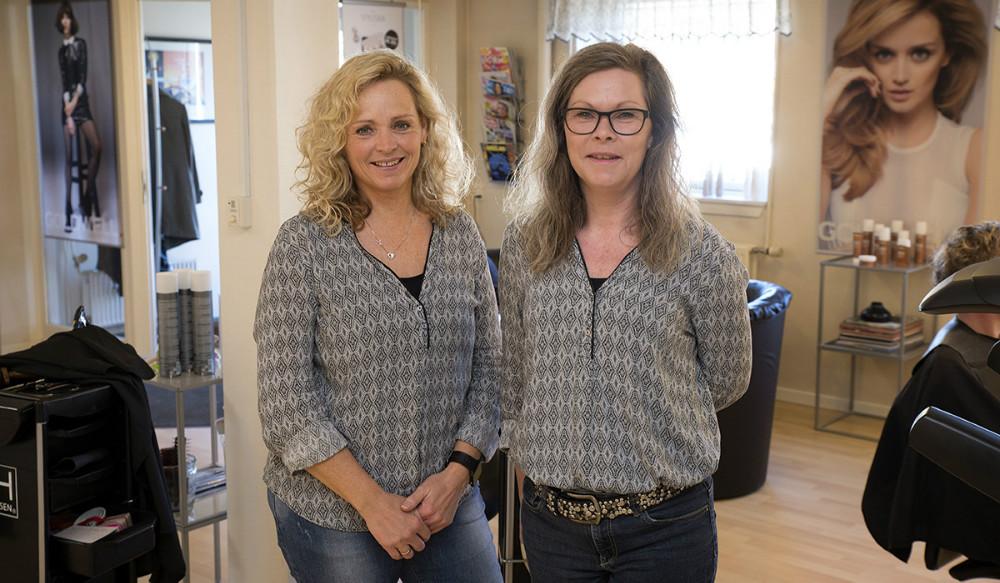 Indehavere af Frisør Studio 29 i Høng,Mie Stokholm og Susanne Aagaard. Foto: Jens Nielsen