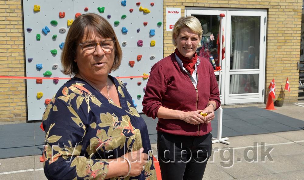 Nelly Melballe Bonde, leder af Kalundborg Asyl Børnehave og Kirsti Thygesen, varehuschef i Kvickly Kalundborg. Foto: Jens Nielsen