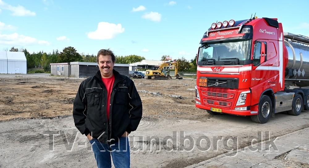 Vognmand Peter Obel bygger nyt firmadomicil på Flakagervej i Kalundborg. Foto: Jens Nielsen