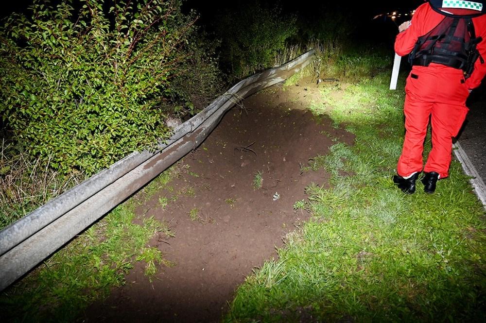 Her landede bilen. Foto: Jens Nielsen