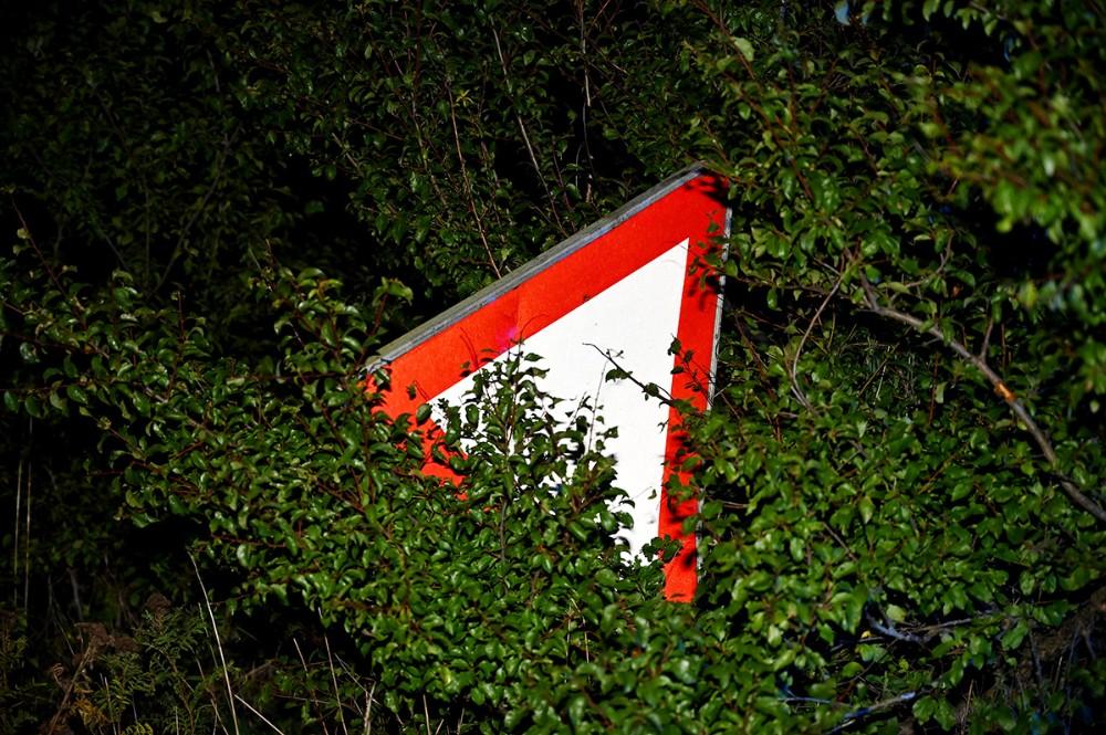 Det trekantede skilt som sidder 2,5 m. oppe i luften, blev ramt af bilen. Foto: Jens Nielsen