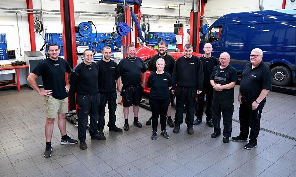 Teamet hos Lips Autoteknik. Foto: Jens Nielsen