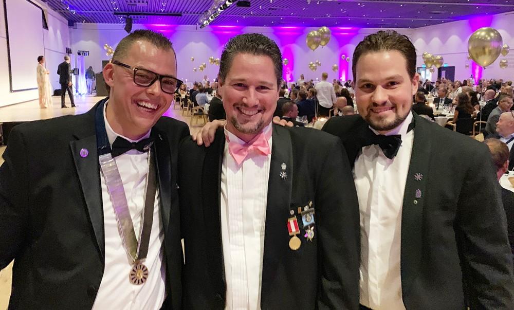 Fra venstre, formandMads Fredslund, idemand til projektet Frank Pedersen og næstformand Dennis Kofod Nielsen, alle fra Round Table 47 Kalundborg. Privatfoto