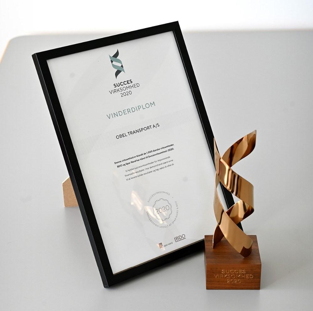 Obel Transport har også modtaget prisen 'Succesvirksomhed 2020'. Foto: Jens Nielsen