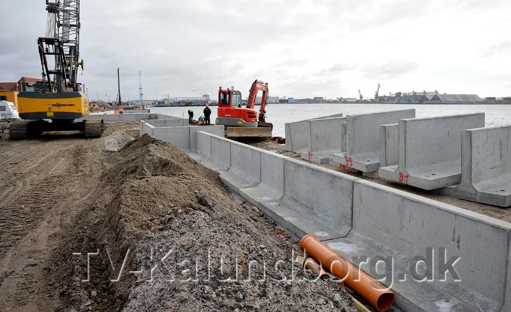 Støttemuren skal fungere som højvandssikring. Foto: Jens Nielsen