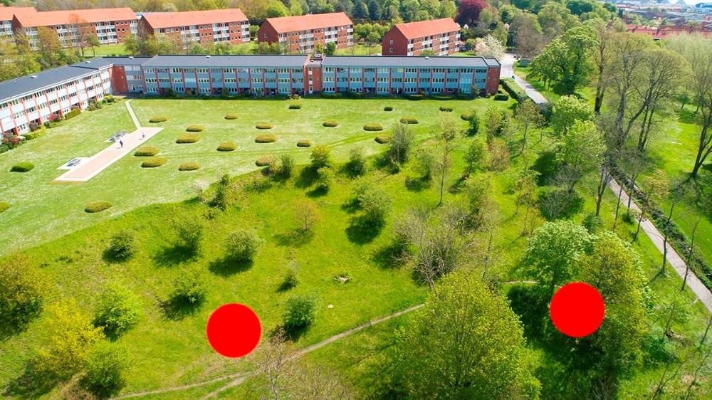 De to af de otte klyngehuse skal placeres neden for Munkesøparken. Foto: Jens Nielsen