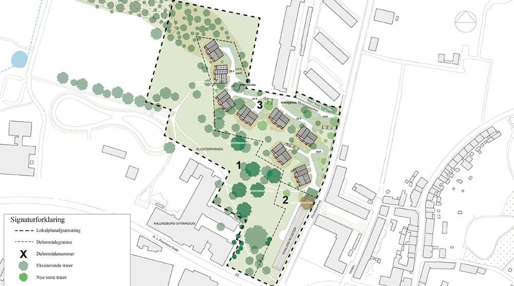 Sådan skal de otte klyngehuse placeres i Klosterparken ifølge AP Ejendomme.