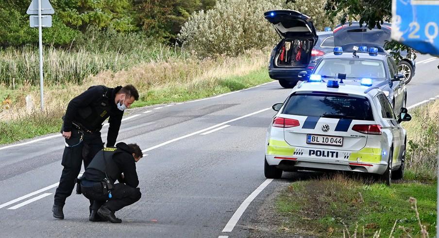 Politiet var massivt tilstede i forbindelse med økseoverfaldet på Ulstrupvej i Gørlev sidst i september. Foto: Jens Nielsen