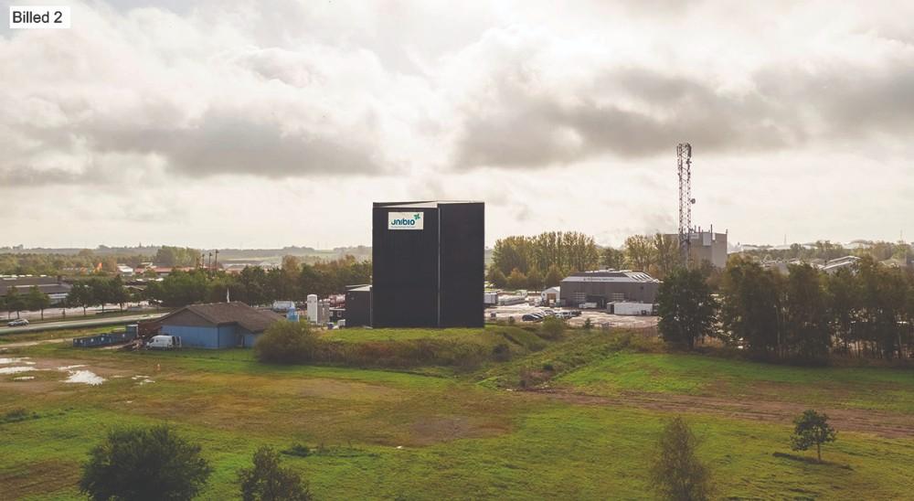 Sådan forestiller Unibio at den nye tilbygning skal se ud. I baggrunden Multi-Tech og Gyproc.