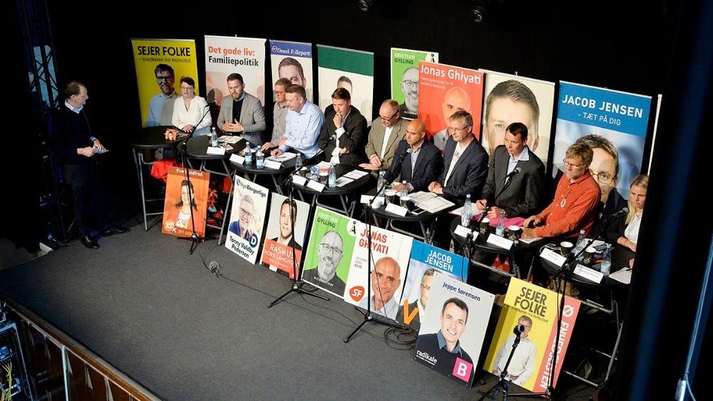 Kandidater fra 12 af de 13 opstillingsberettigede partier til den kommende folketingsvalg, stillede op til debat med erhvervslivet. Foto: Jens Nielsen