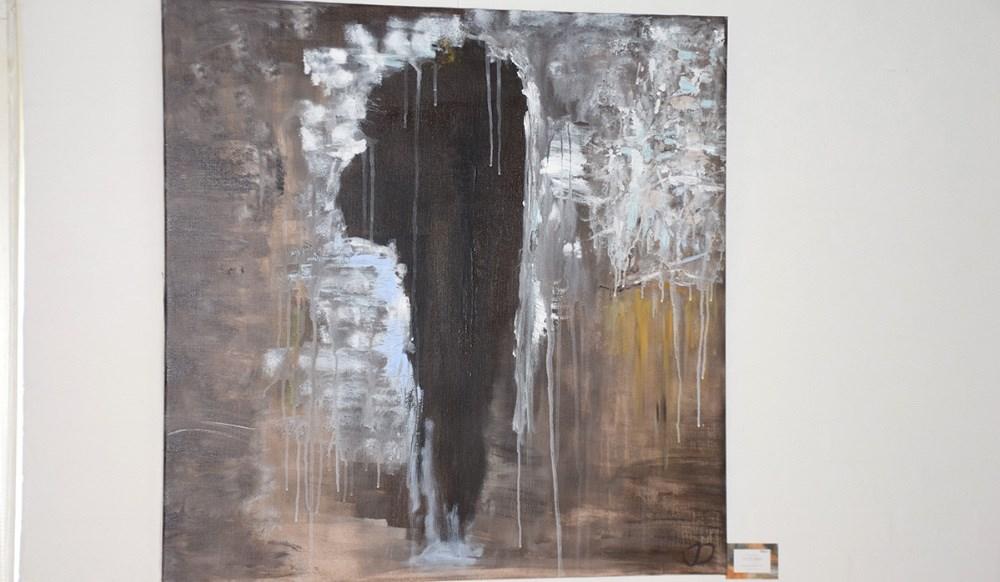 Et af Julie Dams malerier. Inspireret fra Åmosen. Foto: Gitte Korsgaard.