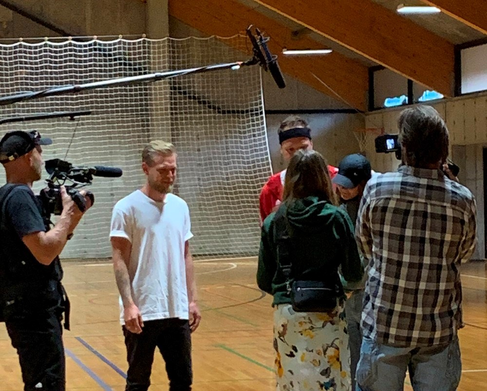 Kevin Magnussen lavede en række koncentrationsøvelser med eleverne. Privatfoto