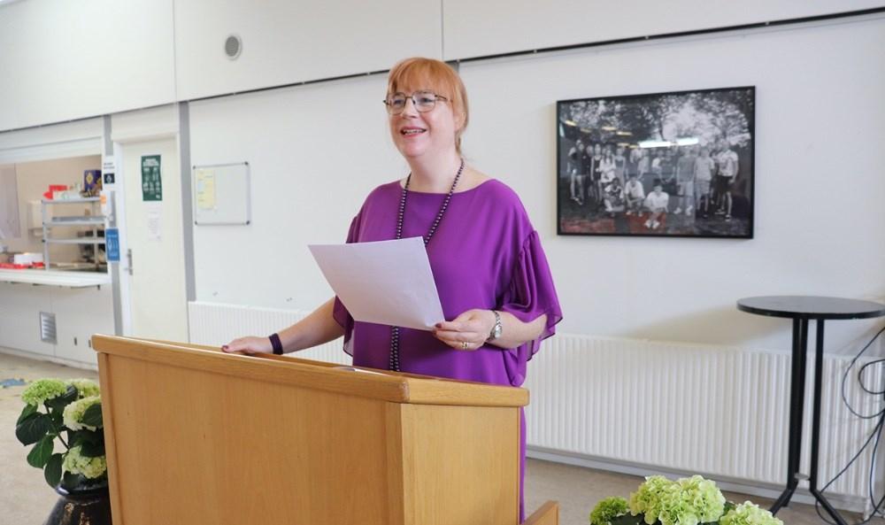 Rektor Karen Marie Christensen holdte tale. Privatfoto.
