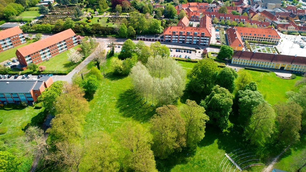 Punkthusene ønskes opført i den øverste del af Klosterparken. Foto: Jens Nielsen