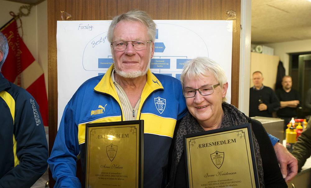 De to nye æresmedlemmer Arne Nielsen og Irene Kristensen. Foto: Jens Nielsen