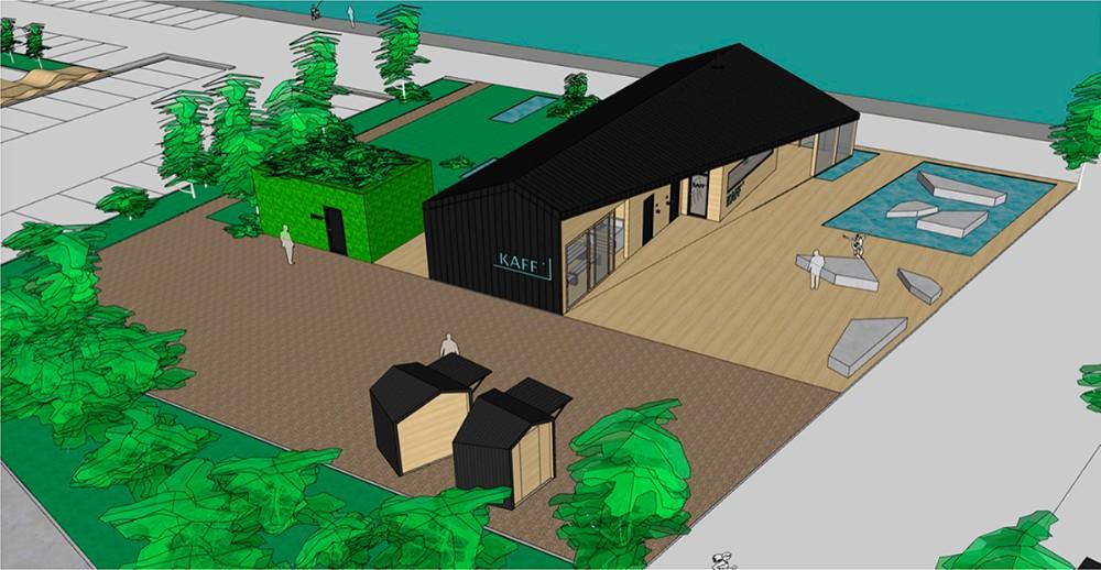 Der opføres en helt nyt fælleshus i den østlige ende af Havneparken.