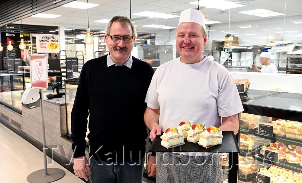 Formand for H.F. Vestsjællands Venner, Niels-Erik Sørensen sammen med bagermester Tommy Jensen. Foto: Jens Nielsen