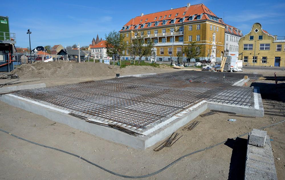 Fundamentet til den nye café er støbt. Foto: Jens Nielsen