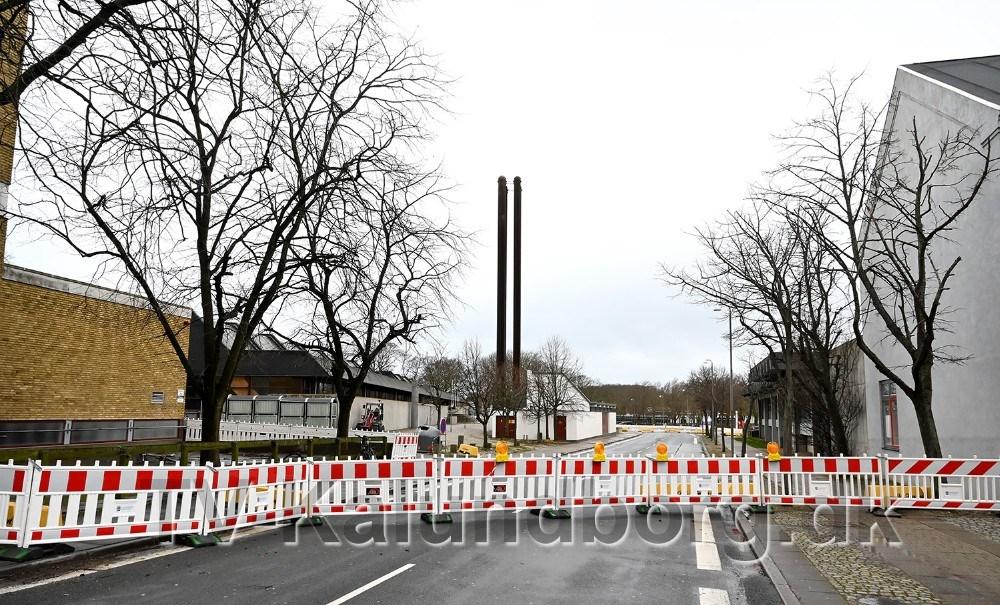J. Hagemann-Petersens Alle er spærret for al trafik frem til torsdag morgen. Foto: Jens Nielsen