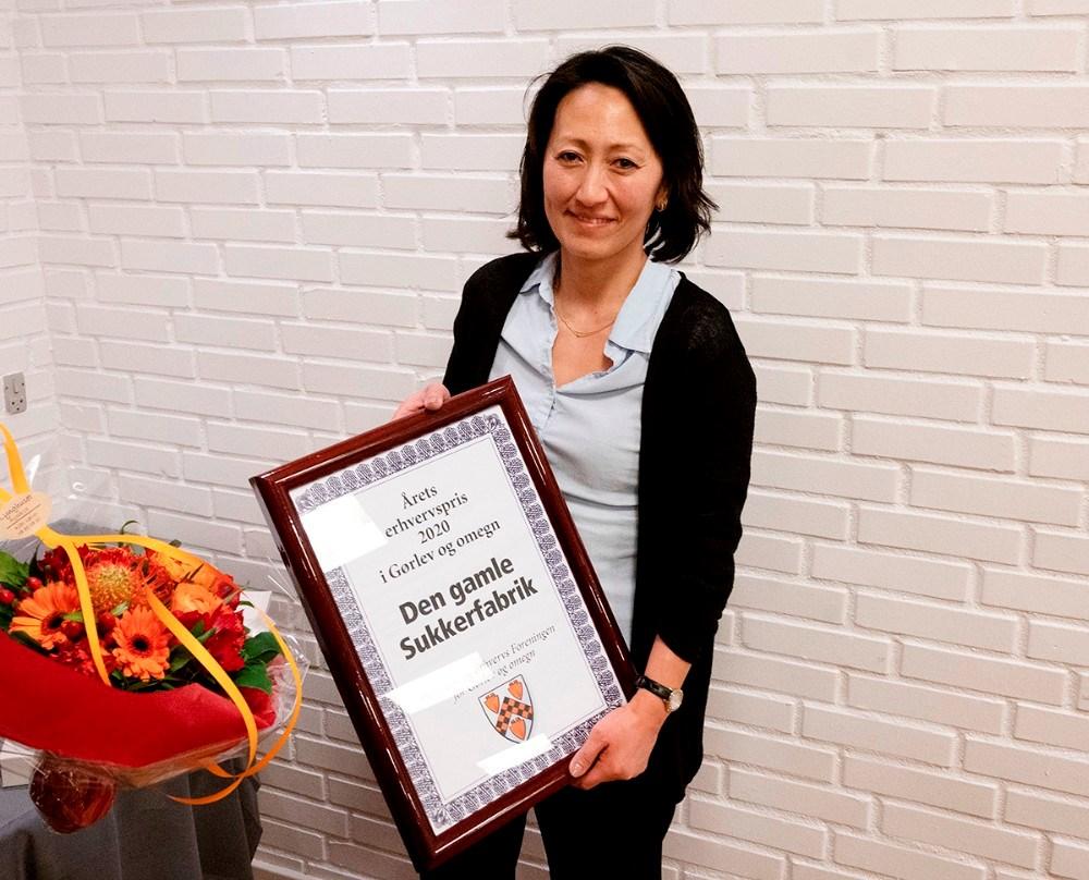 Lulu Harms Larsen fra Den Gamle Sukkerfabrik i Gørlev, modtog Årets Erhvervspris 2020 for Gørlev og Omegn. Foto: Jens Nielsen