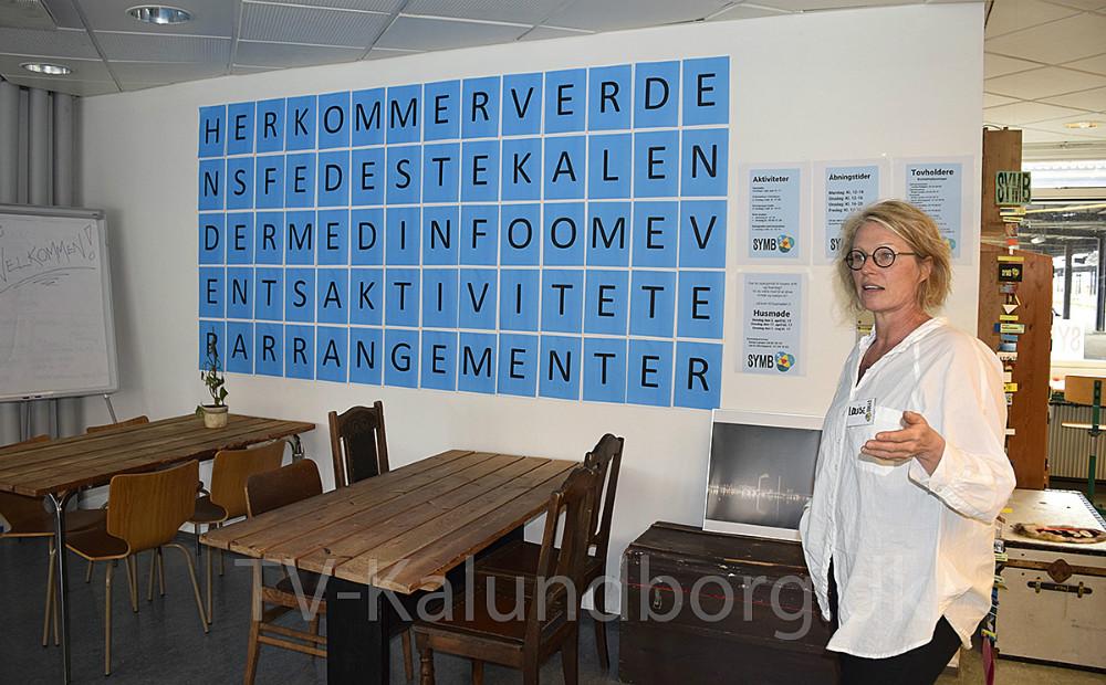 Louise Kolbjørn i SYMBs nye lokaler på den gamle station i Kalundborg. Foto: Gitte Korsgaard.