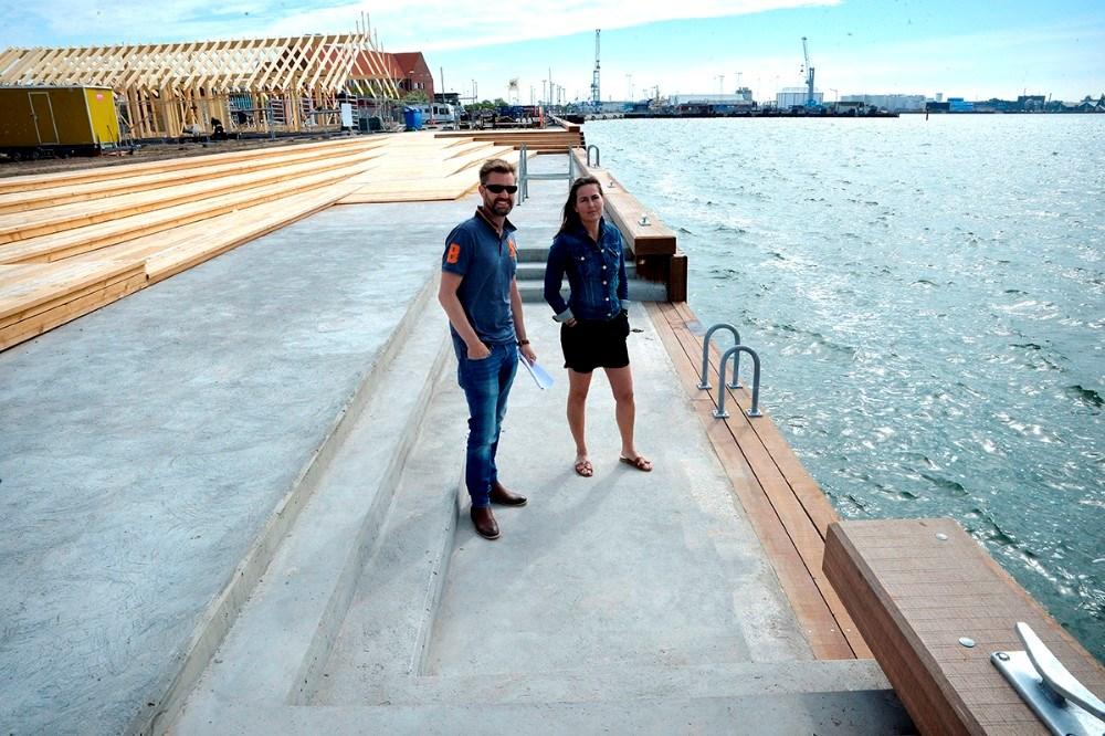 I forbindelse med terrassering ned mod vandet er der lavet en badenedgangszone. Foto: Jens Nielsen