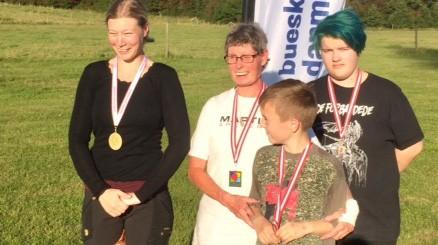 De fire lokale skytter som vandt DM-medaljer, fra venstre,Pernille Olsen,Hanne Christensen,Noah Køllgaard ogAstrid T. Christiansen. Privatfoto