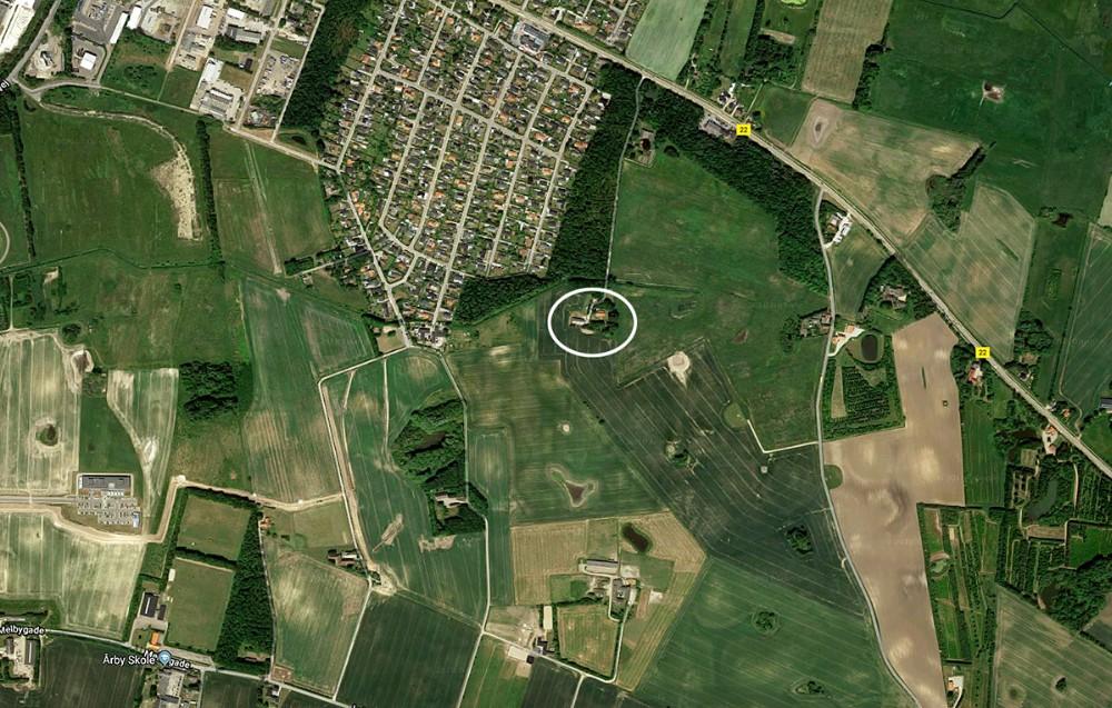 Ludvig Wejlemands ejendom markeret med den hvide ring.