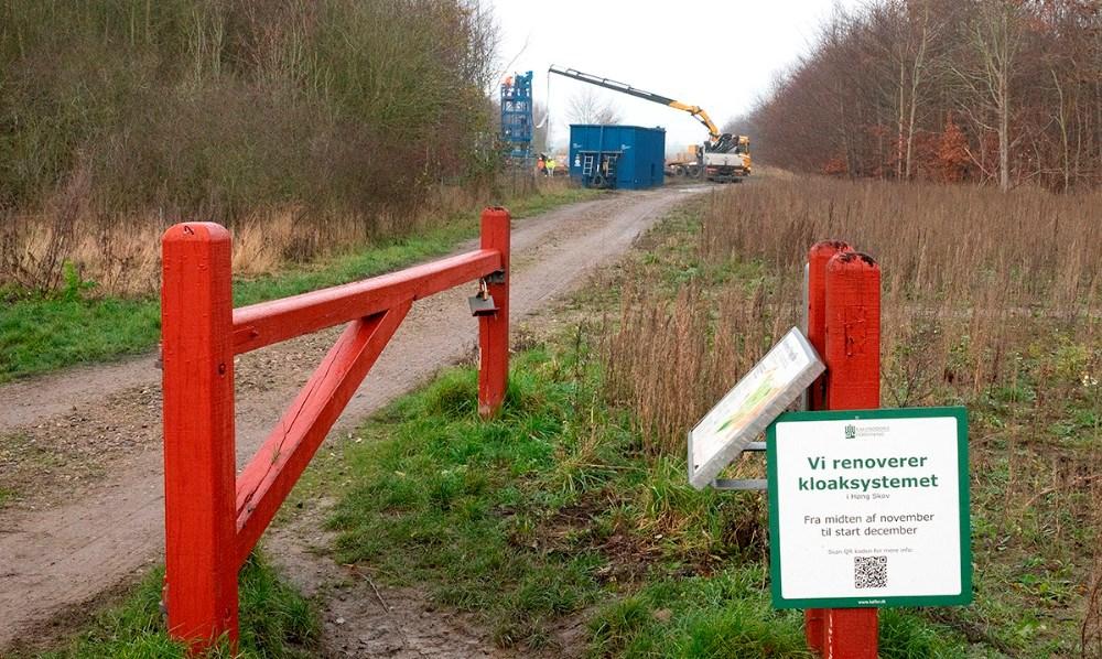 Kalundborg Forsyning er i gang med et større arbejde i Høng Skov. Foto: Jens Nielsen