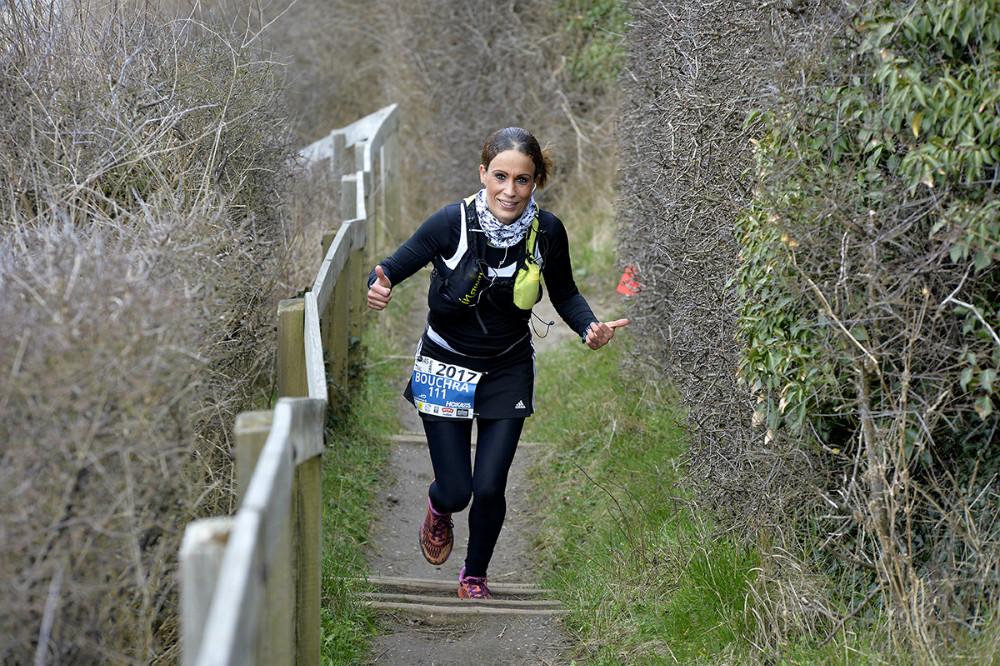 Hurtigste kvinde på 28 km. ruten, Bouchra Lundgren Eriksen, Tappernøje. Foto: Jens Nielsen