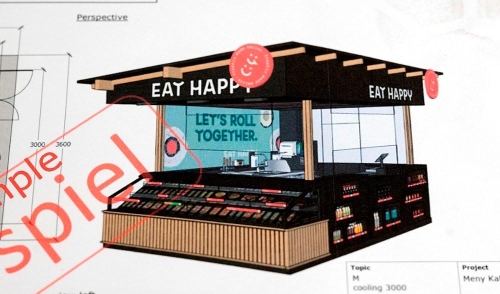 Tegninhg af hvordan den nye sushi shop-in-shop løsning ser ud.