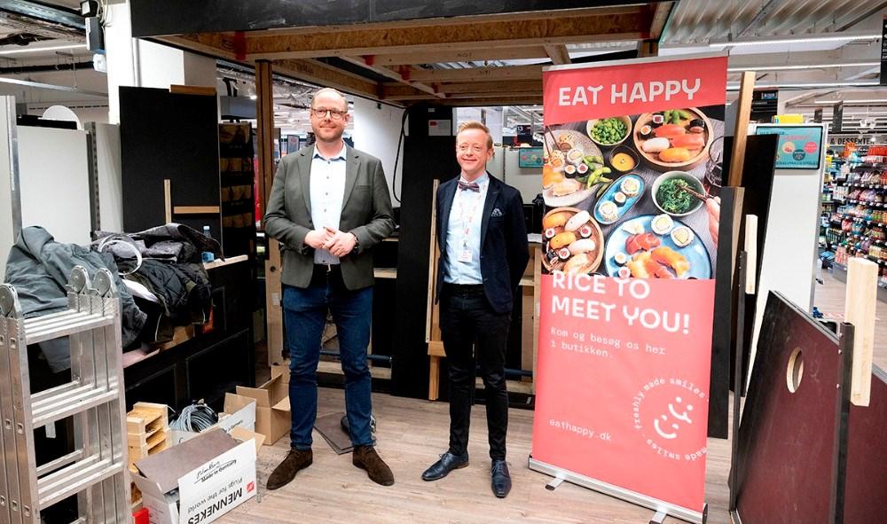 Jackie H Nuñez, direktør for EatHappy i Skandinavien, sammen med Meny købmand Peter Egebæk. Foto: Jens Nielsen