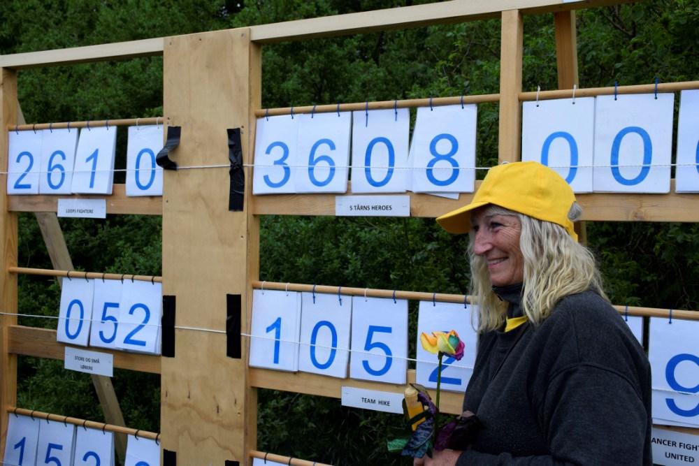 Tavlen, der viser, hvor mange omgange de mange hold har gået/løbet. Foto: Gitte Korsgaard.