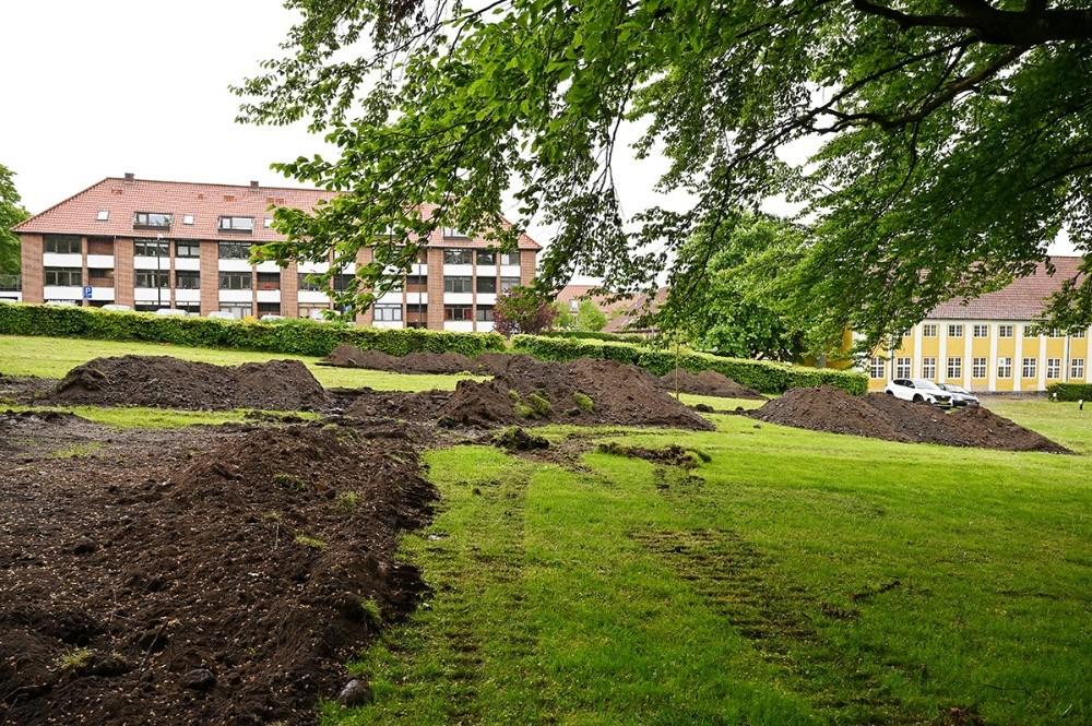 Museum Vestsjælland har gravet en række søgegrøfter i den øverste del af Klosterparken bag Kalundborg Gymnasium. Foto: Jens Nielsen