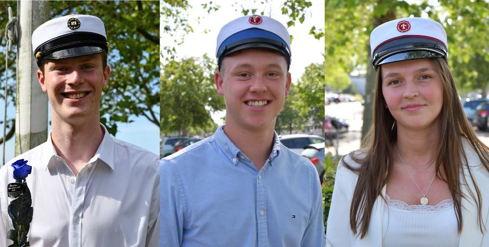 Årets første studenter fra Allikelund Gymnasiium, fra venstre,Michael Bøje Andersen,Tobias Keller Jørgensen ogNatasja Elfrida Hald Appelgren. Privatfoto