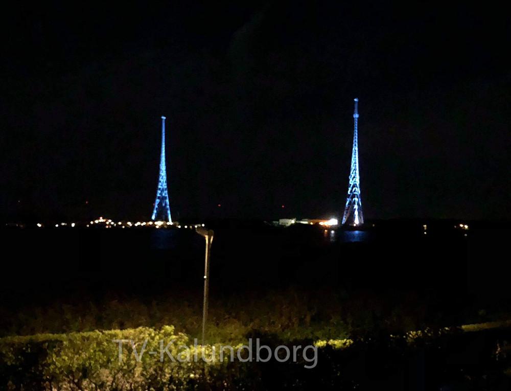 I går testede man lys i masterne på Gisseløre, der bliver tændt på fredag den 28. september fra havneparken i Kalundborg. Privatfoto.