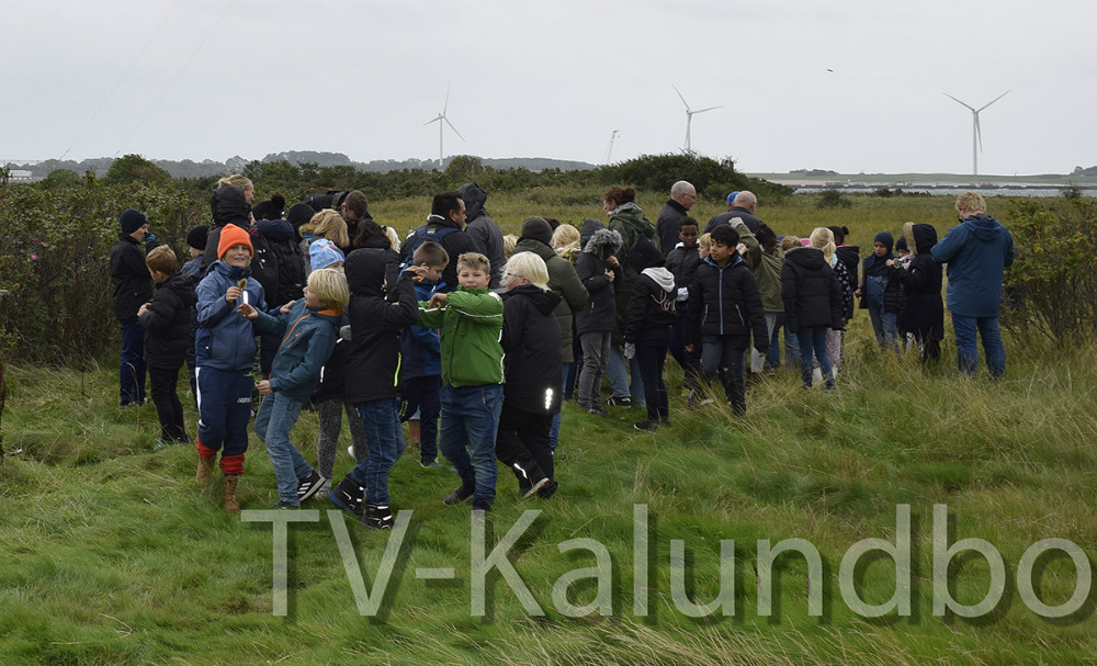 3.kl fra Skolen På Herredsåsen på besøg hos Asnæsbroen på Gisseløre i dag. Foto: Gitte Korsgaard.