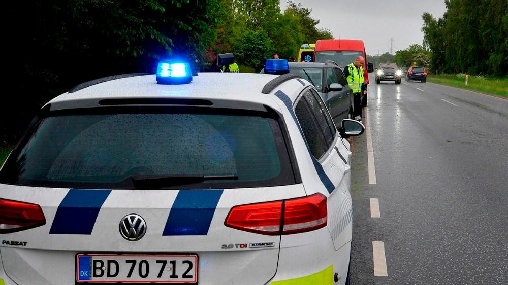 Færdselsuheld på Slagelse Landevej fredag eftermiddag. Foto: Jens Nielsen