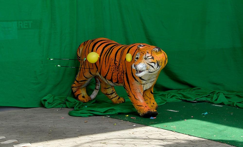 Mange ville prøve at skyde efter den opstillede tiger. Foto: Jens Nielsen