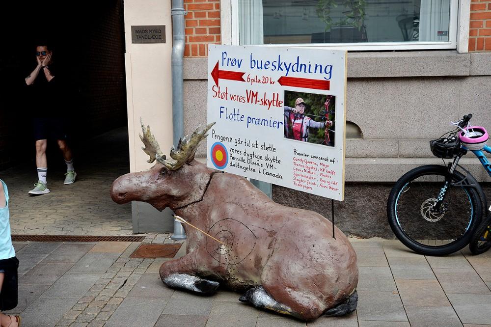 En stor Elg lå som blikfang uden for Danske Banks gård. Foto: Jens Nielsen