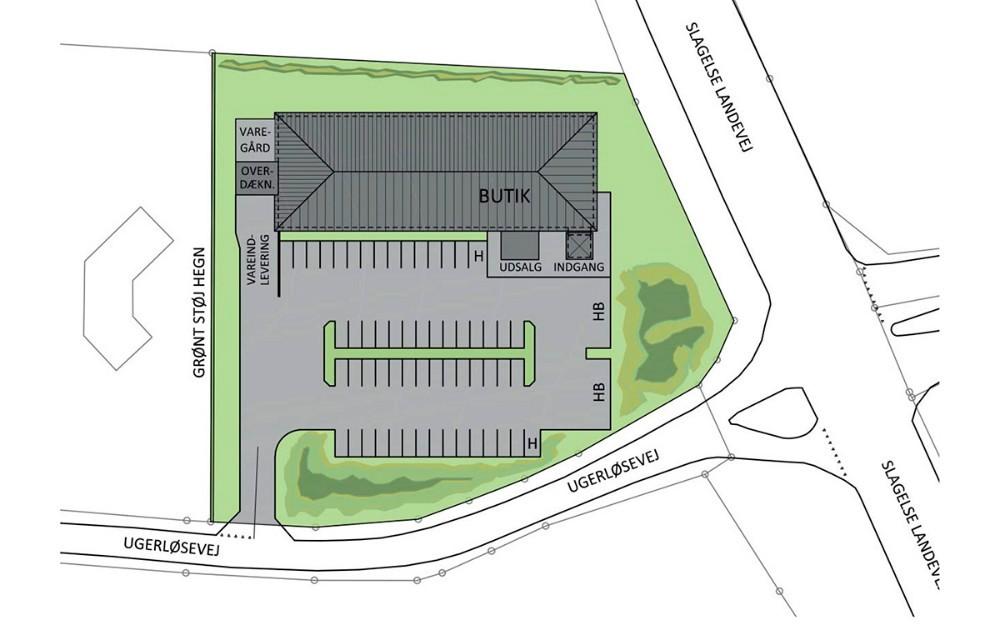 Projekudviklerens placering af et supermarked ved Ugerløse, som der nu er sagt nej til.