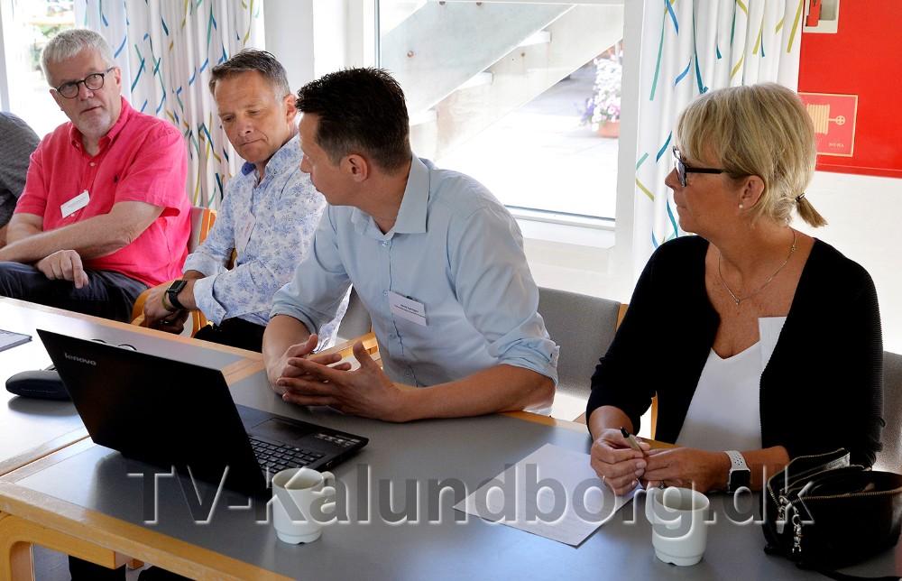 Fra venstre, Henrik Petterson, Vores Kalundborg, Jens Müller, Visit Vestsjælland, Jens Lerager, Kalundborgegnens Erhvervsråd og Anita Winther, Vores Kalundborg. Foto: Jens Nielsen