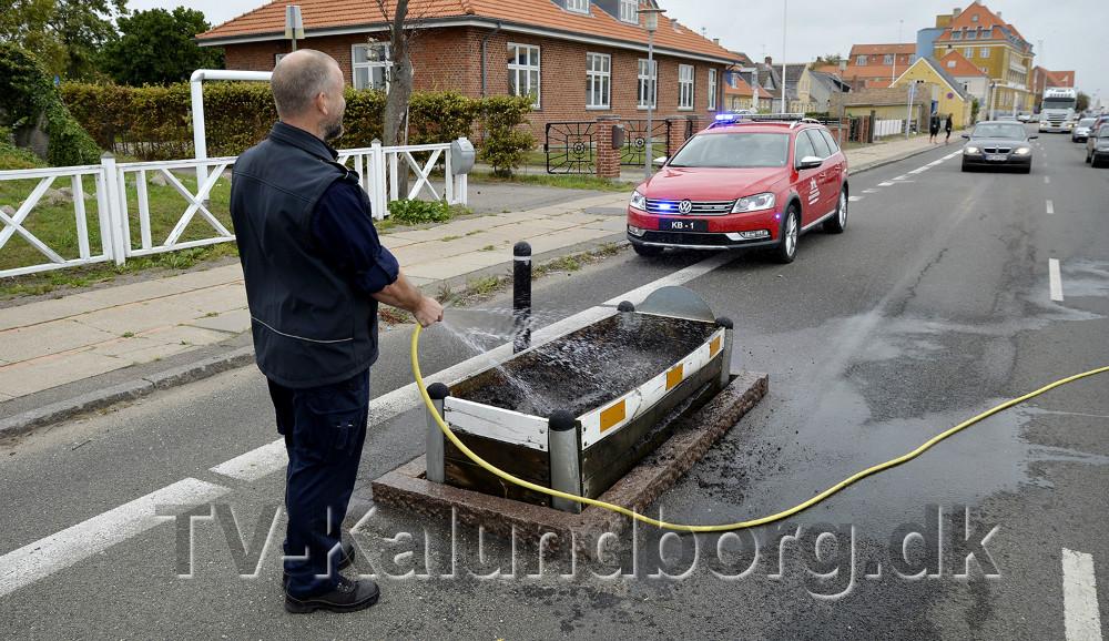 Indsatsleder Jan Clausen fik slukket branden med en vandslange. Foto: Jens Nielsen