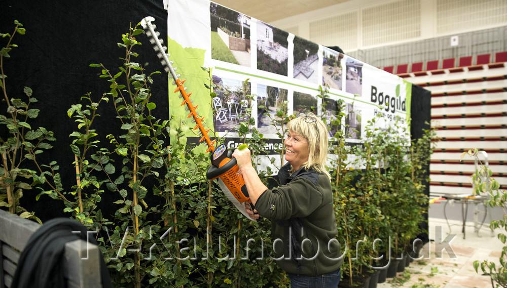 Helle Bøggild lånte lige en hækkeklipper hos naboen så planterne kunne få en sidste afpusning. Foto: Jens Nielsen