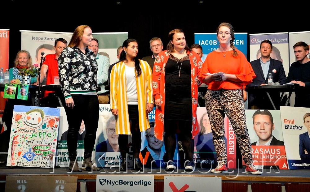 Styregruppen bag 'Bedre normeringer – Kalundborg', Christina H. Jensen, Jeanette Wiberg Hansen, Maria Neslo Christiansen og Nanna Jørgensen, som havde arrangeret valgmødet. Foto: Jens Nielsen