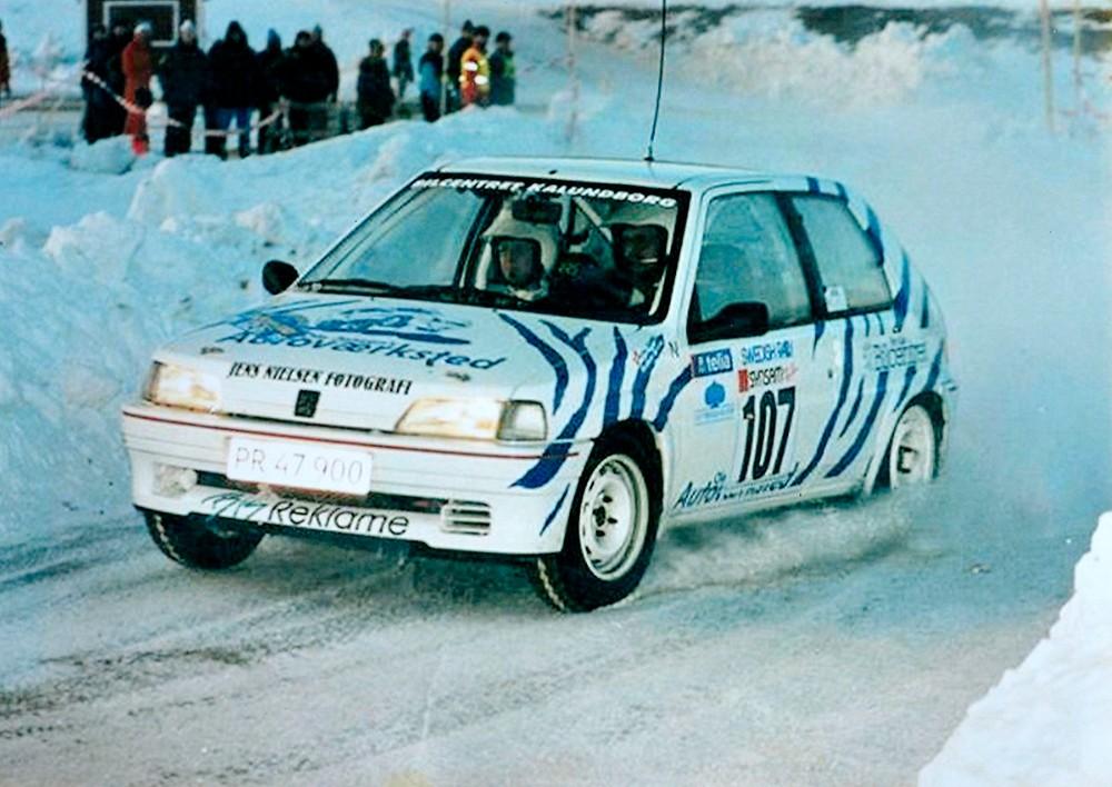Billede fra deltagelsen i det Svenske Vinterrally i 1995